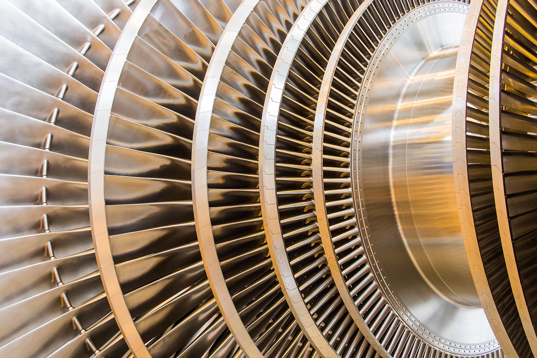 Closeup of team turbine low pressure rotor blades