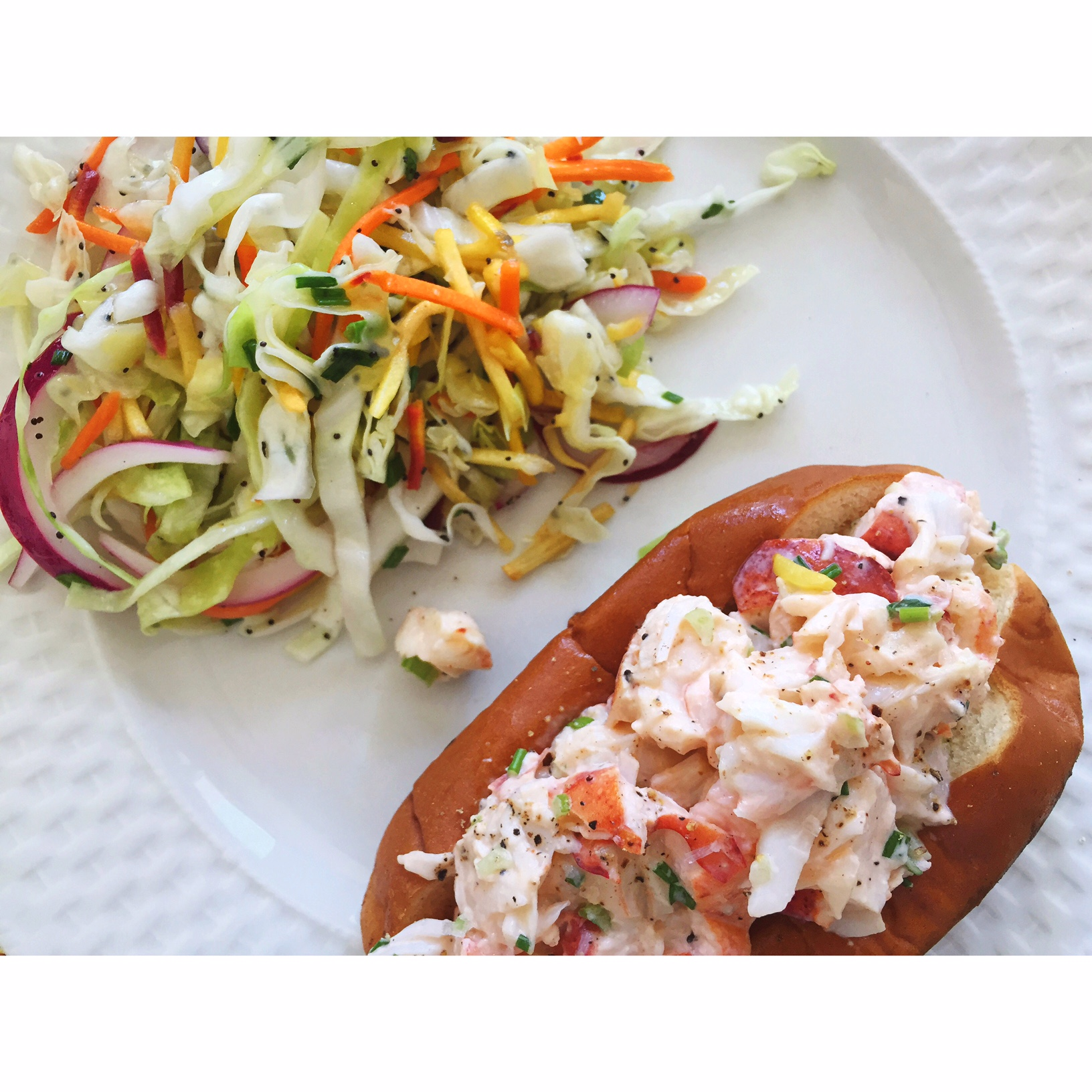 Lobster rolls and cole slaw