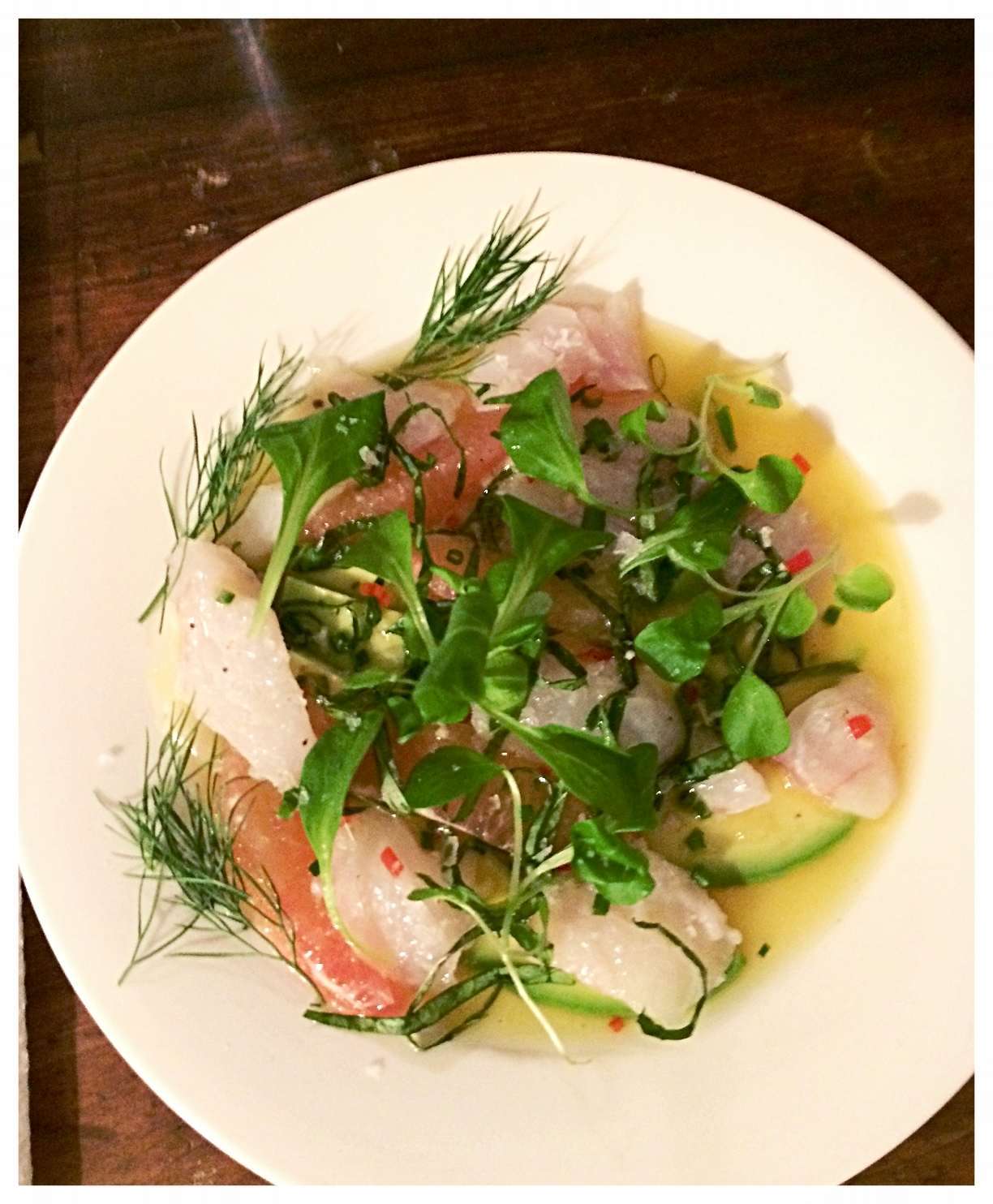 Hamachi crudo with mache, fennel, chile and avocado