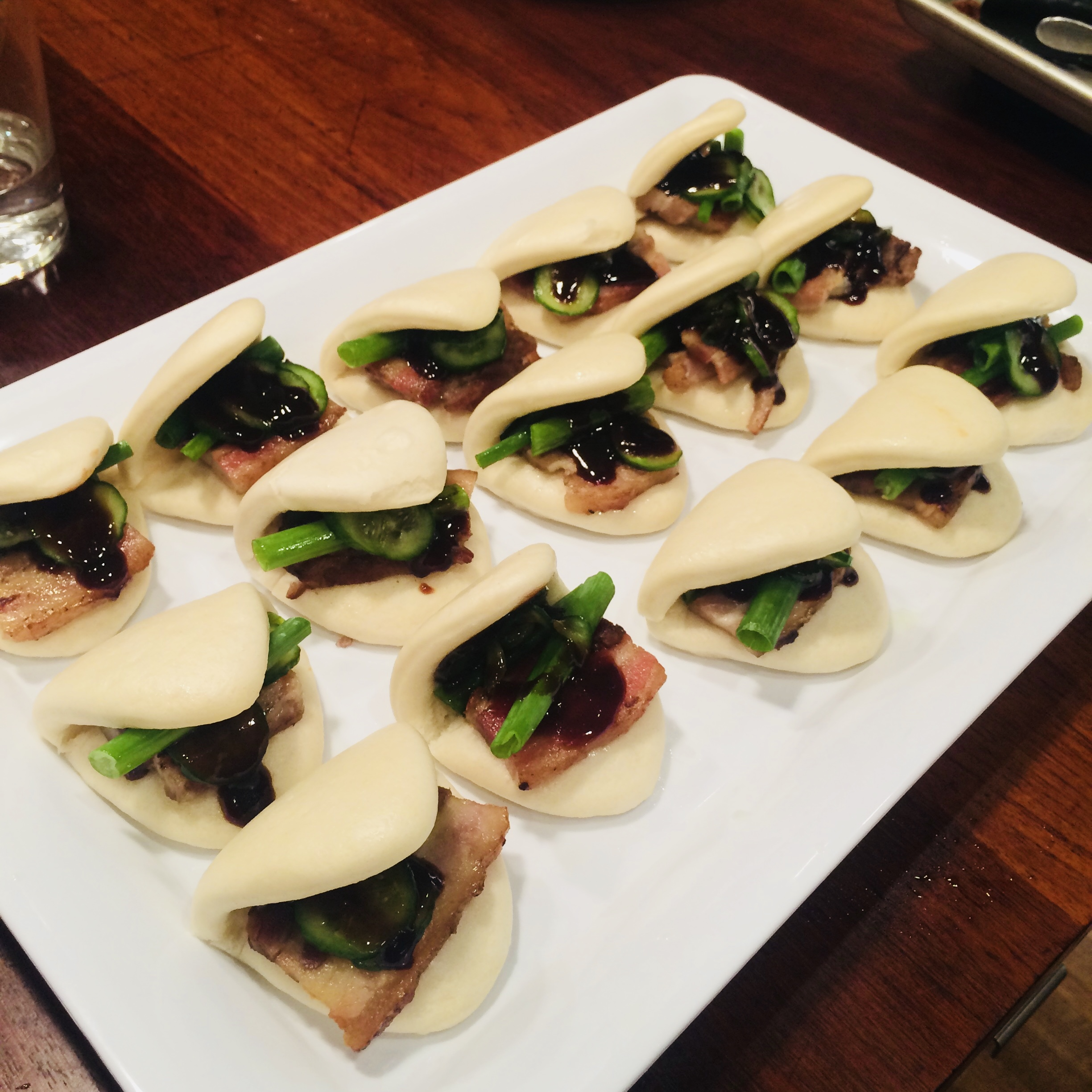 mini Momofuku-style steamed pork buns for a school board reception