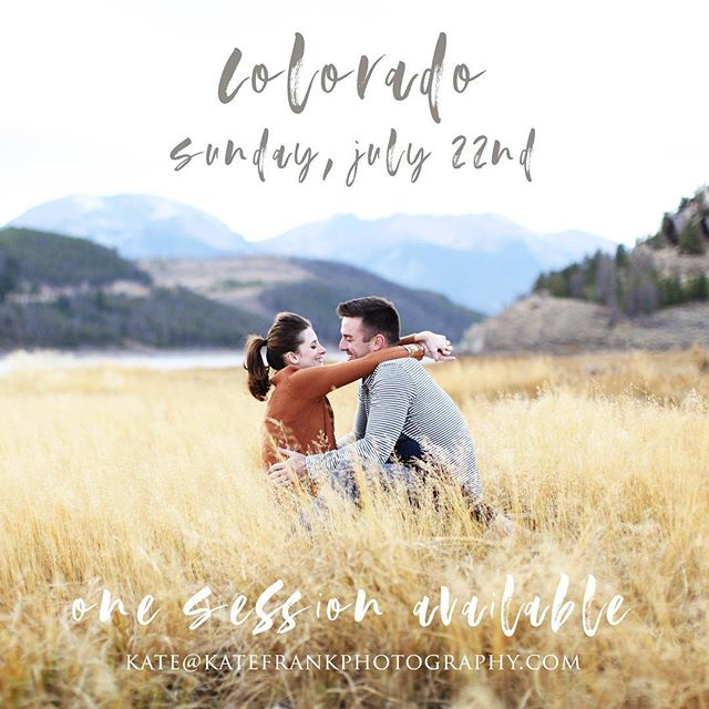 Sky high in COLORADO...! I'm coming for you, Colorado! I've got a fun schedule of sessions while I'm there this weekend, and I have room for 1 more session on Sunday! Any of my Colorado friends in need of a family, baby, senior or couples session? Call, text or email if you'd like to have it. kate@katefrankphotography.com or 940.337.9194
