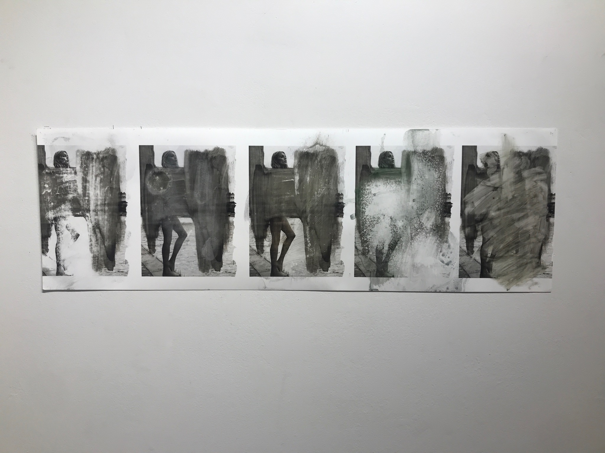 Process   2017  11 6/16 x 36 in.  Citra solv on magazine, bathroom cleaner, oven cleaner, nail polish remover, window cleaner, and bleach on photo paper