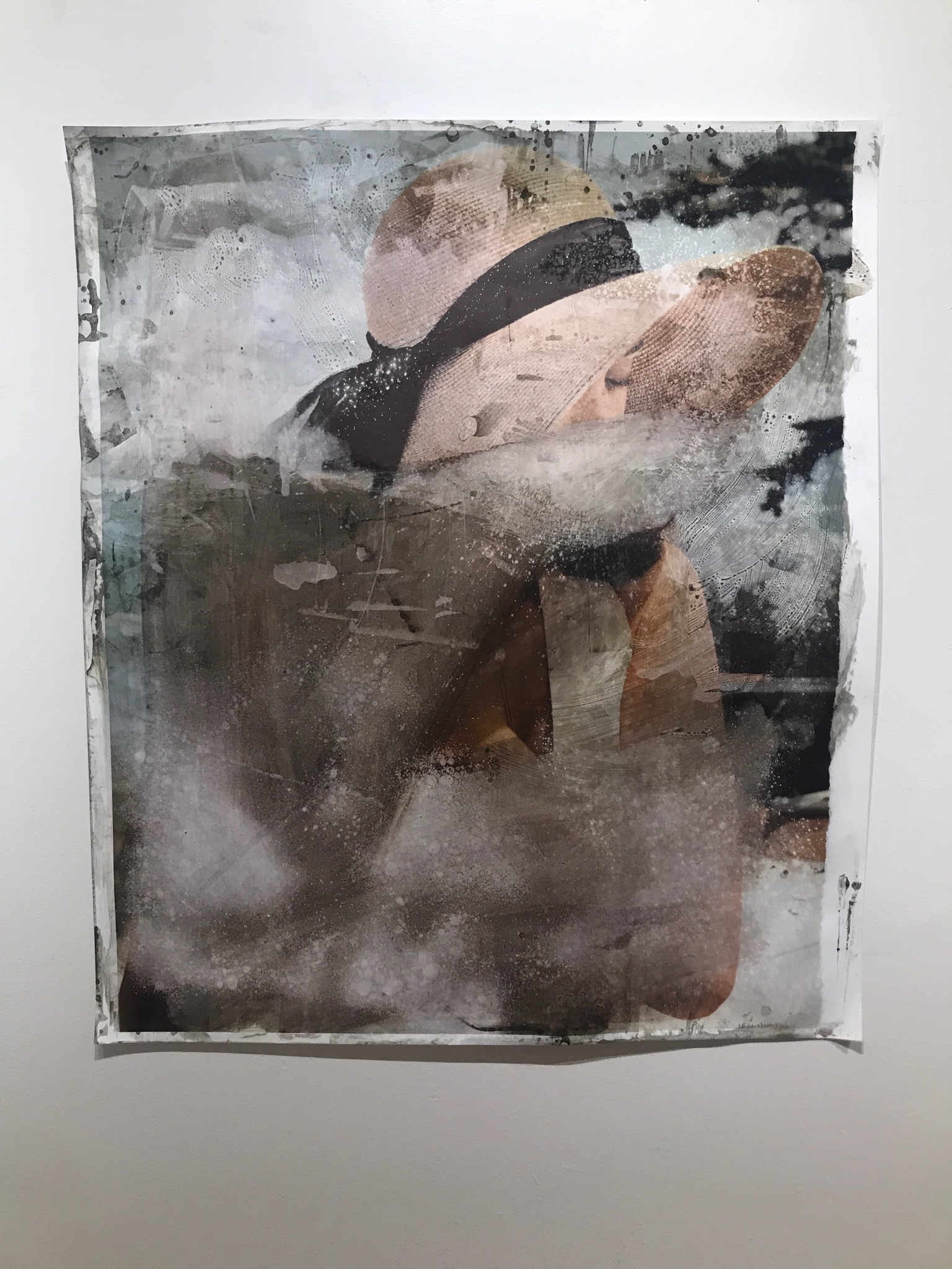 An Object of Desire   2017  41.5 x 36 in.  Citra solv on magazine, nail polish remover, window cleaner and bleach on photo paper