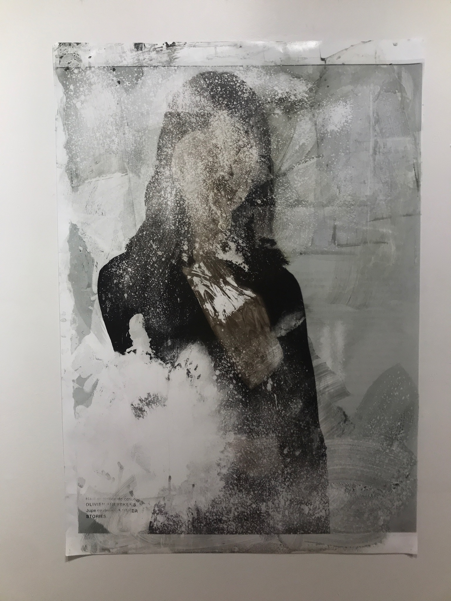Objet de Désir 3   2017  51.5 x 36 in.  Citra solv on magazine, window cleaner, and bleach on photo paper