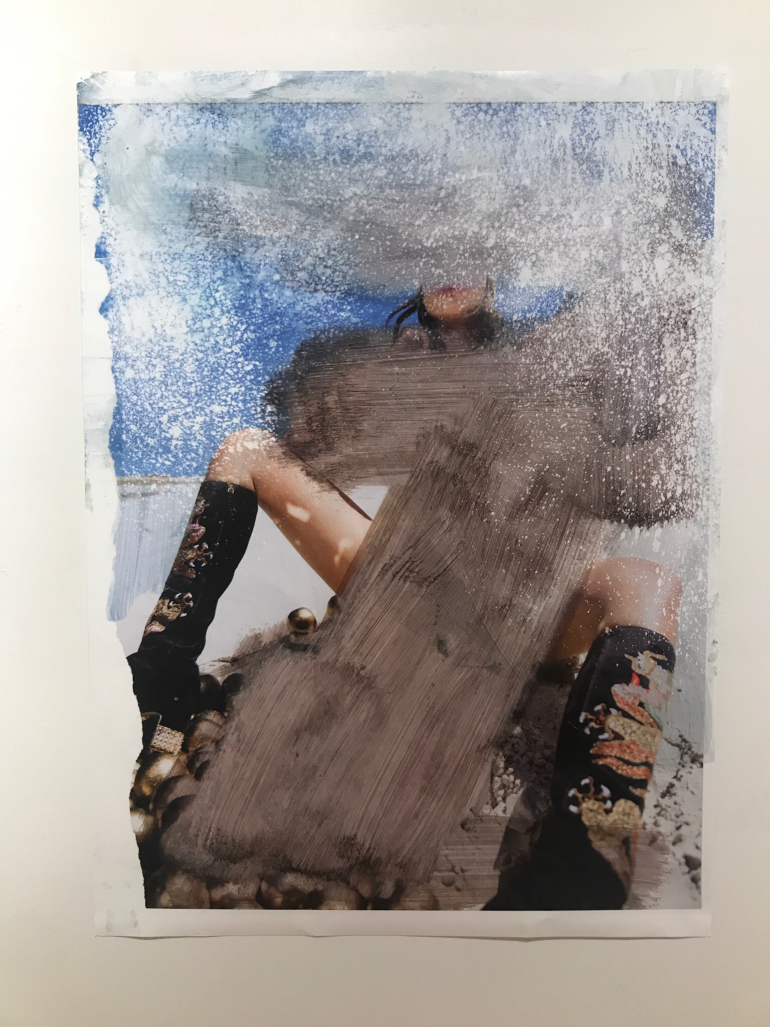 Objet de Désir 4   2017  49 x 36 in.  Citra solv on magazine, bleach on photo paper