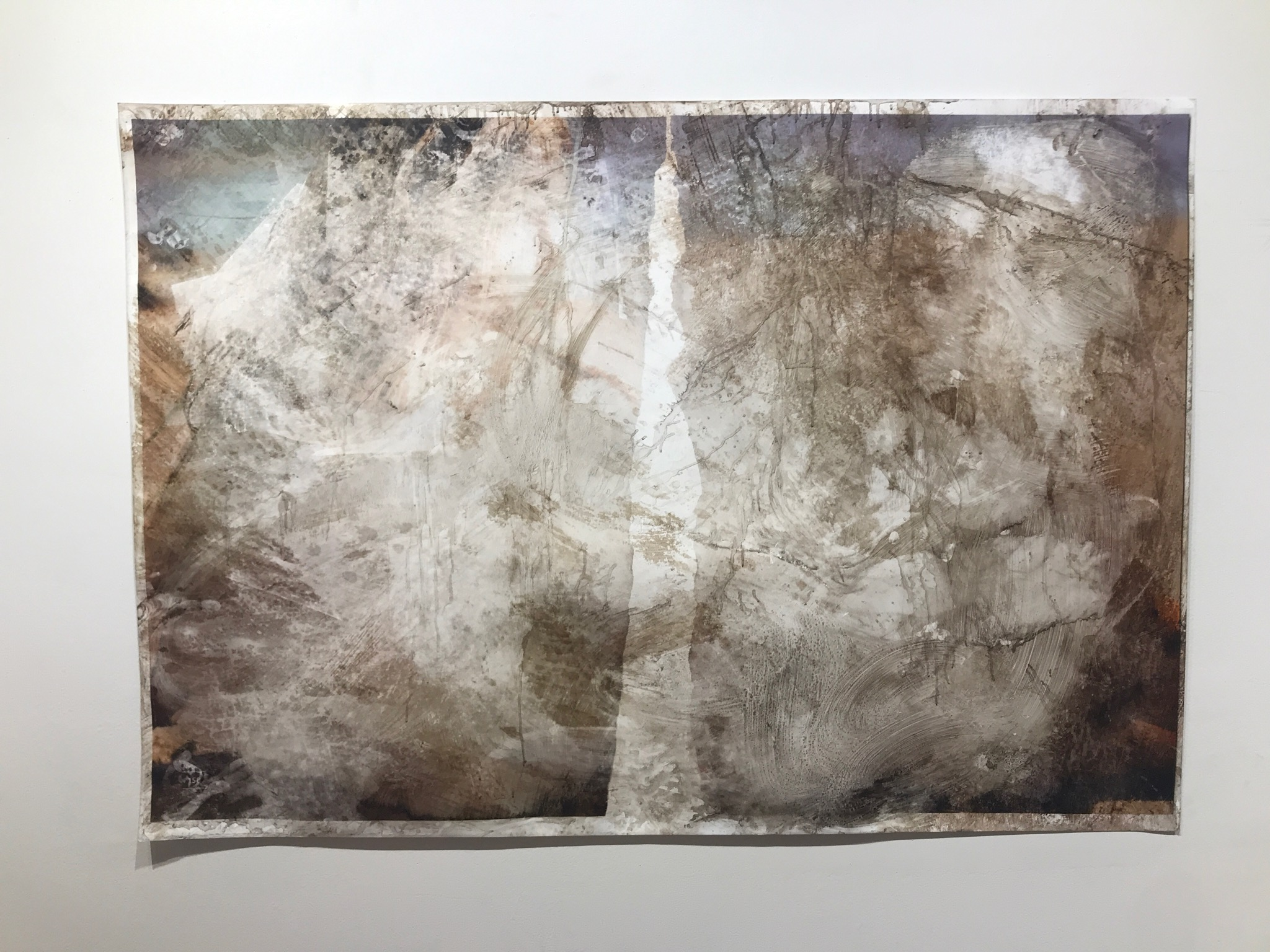 158   2018  36 x 52 in.  Citra solv on magazine, bleach, window cleaner, nail polish remover, and pine sol on photo paper