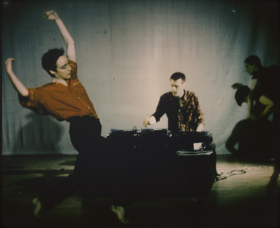 Linda Austin 1985 performance with Christian Marclay (center) and Brian Moran (right) (Photo: Bob Flynt)