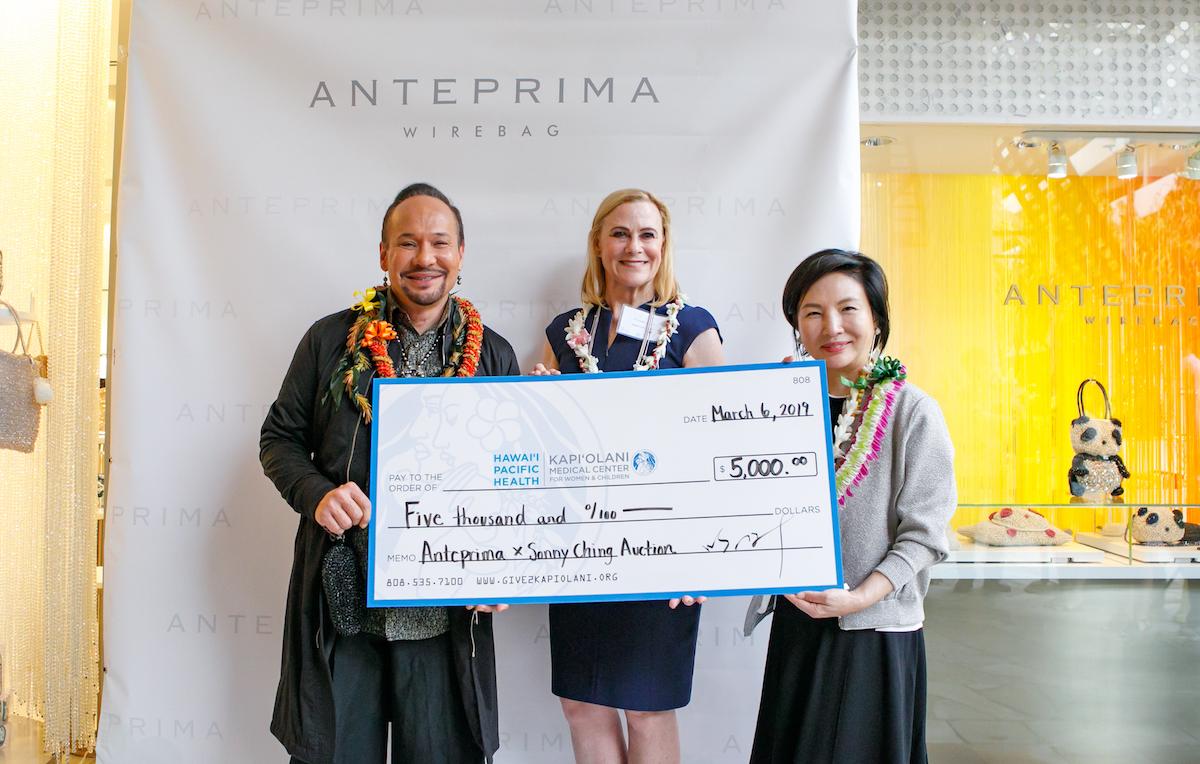 (From left) Kumu Hula/Designer Sonny Ching, Kapiolani Medical Center CEO Martha Smith and ANTEPRIMA Creative Designer Izumi Ogino
