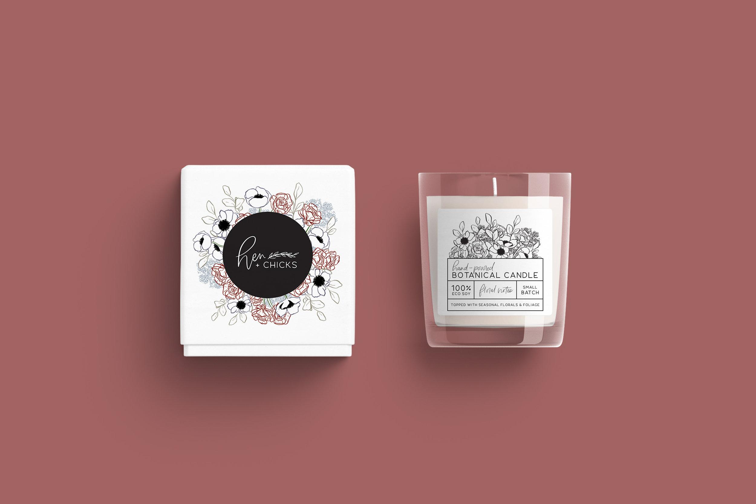 Hen and Chicks - Bexley Design Co Branding - Botanical Candles Packaging Design