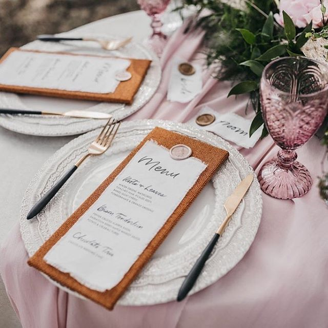 Gorgeous tablescape styling by @momentsbymadeleine! ⠀⠀ Love the fabric menus we created for this shoot: the courses were hand lettered on gently frayed linen, and attached to a fabric-covered base with a gorgeous wax seal. ❤️ * * Workshop: @thewildonesworkshop Co-host & Styling: @momentsbymadeleineyyc Co-host & Lead Photographer: @kadiehummelphotography Floral Design: @flowersbyjanie Videographers: @summitweddings Stationery: @bexleydesignco Rentals: @modernluxerental Desserts: @prettysweetyyc Venue: @storm_mountain_lodge * * *  #wedding #intimatewedding #featuremeoncewed #weddingseason #theknot #greenweddingshoes #weddingwire #weddinginspo #weddingchicks #bridalmusings #stylemepretty #weddingcolorinspiration #weddingstyle #modernbride #stationerylove #paperlove #paperaddict #painter #artistlife #designlife #pursuewhatislovely #greenweddingshoes #junebugweddings