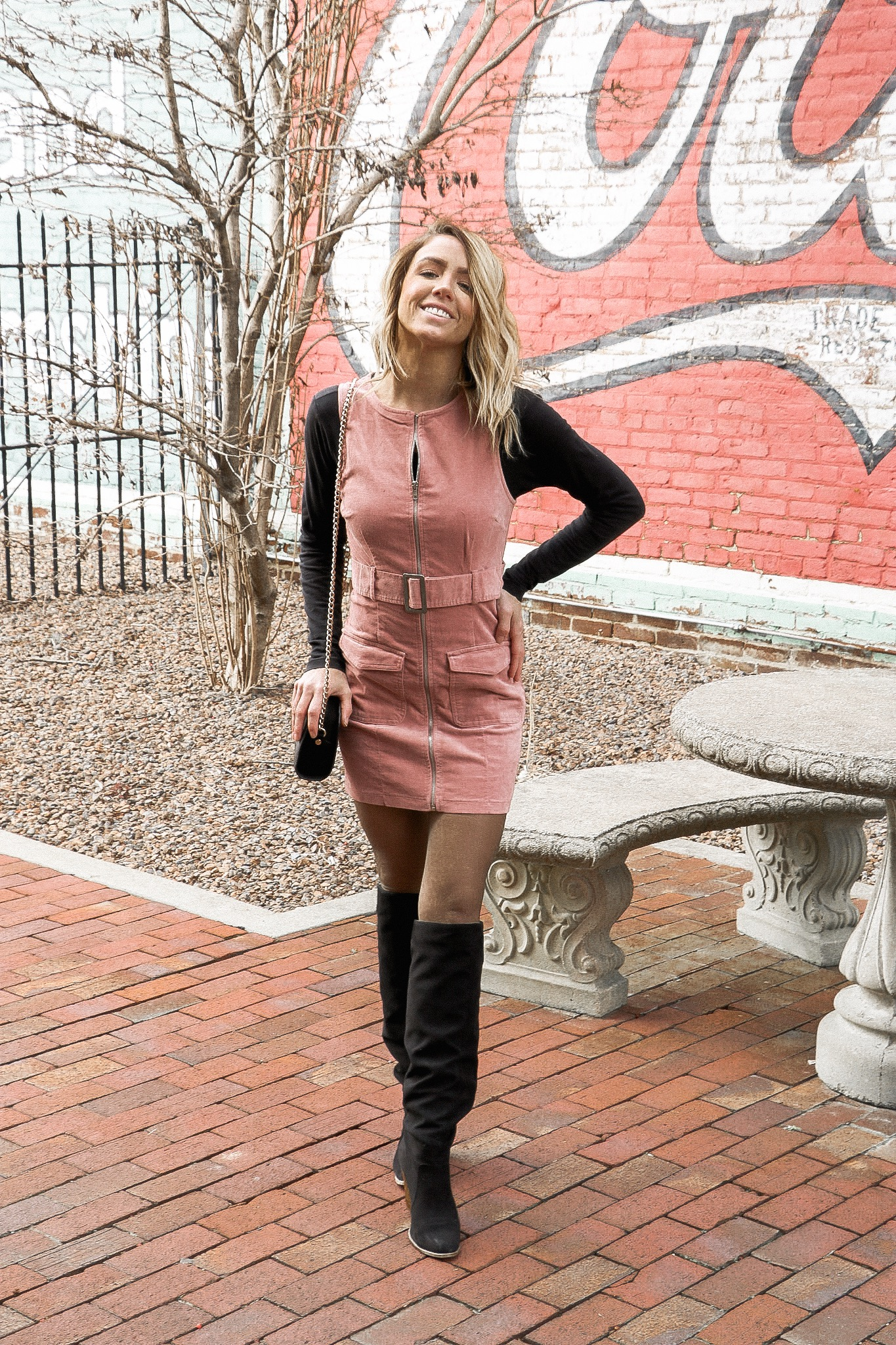 Shop the look!   Dress    Boots  (similar)   Bag