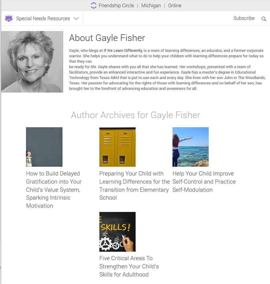 Friendship Circle - Author Archives for Gayle Fisher