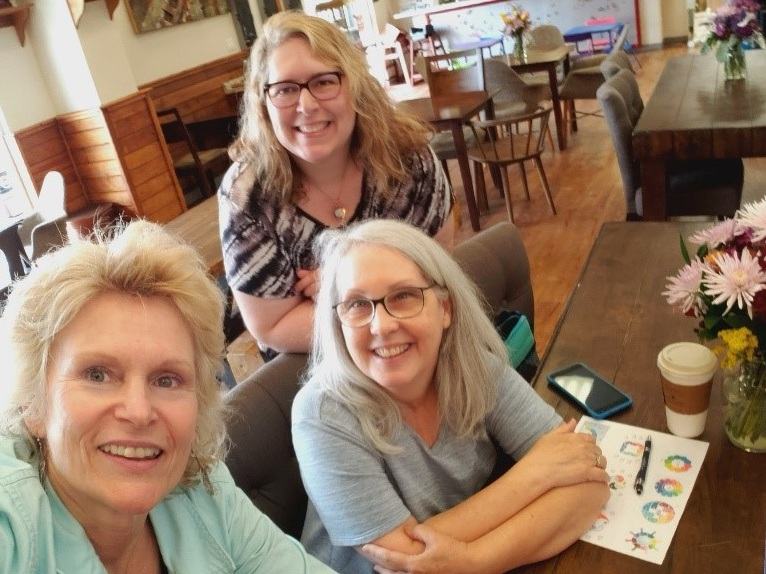 one morning while brainstorming our logo - coffee in the Bistro with gayle, christina, and angela