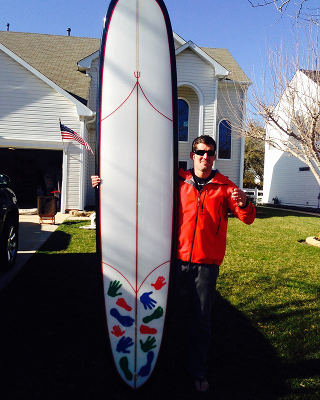 team __  I did not know Ryan Owen, KIA Jan 29,2017, a team member (pictured, a friend) had this surfboard made for him, the bottom is all Gold Squadron...but the top was what he wanted to see in the ocean...all of his kids.  Ryan was shot while exposing himself to render aid to an injured teammate... __  this isn't really a holiday, it's a memorial for those who did something always under the impression they would not come back. team starts w/ those in a very intimate unit most of us will never know, expands to family members who, then out to friends, eventually making its way to those who choose to honor something from a distance. i've been fortunate to have invitations and know the stoicism of these very selfless individuals. it's shocking, nowhere else does this exist that i've experienced. to all that put their lives on the line for freedom without hesitation. 👊🏼🙏🏼 __ #memorialday #remember