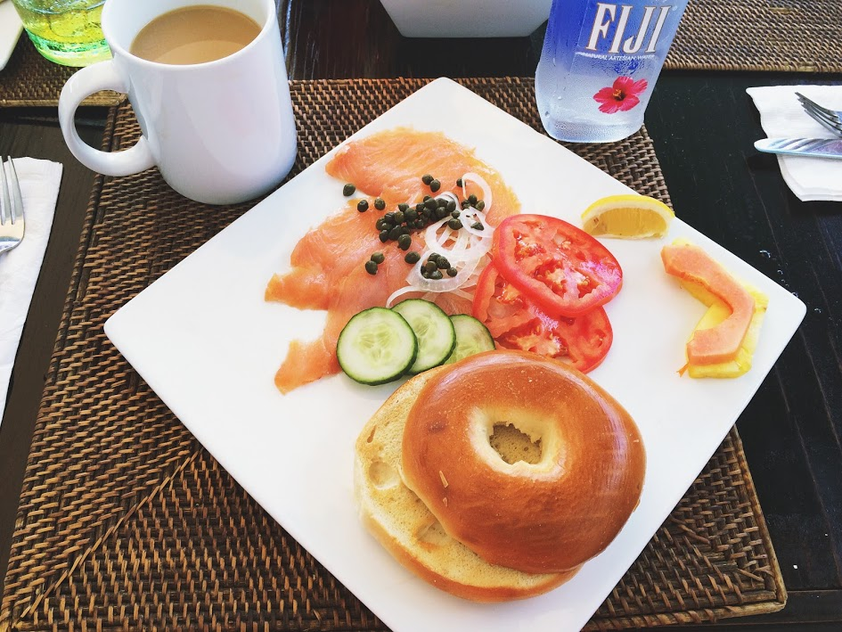 bagel, breakfast, salmon, breakfast plate, coffee, bahamas, fiji water, island breakfast