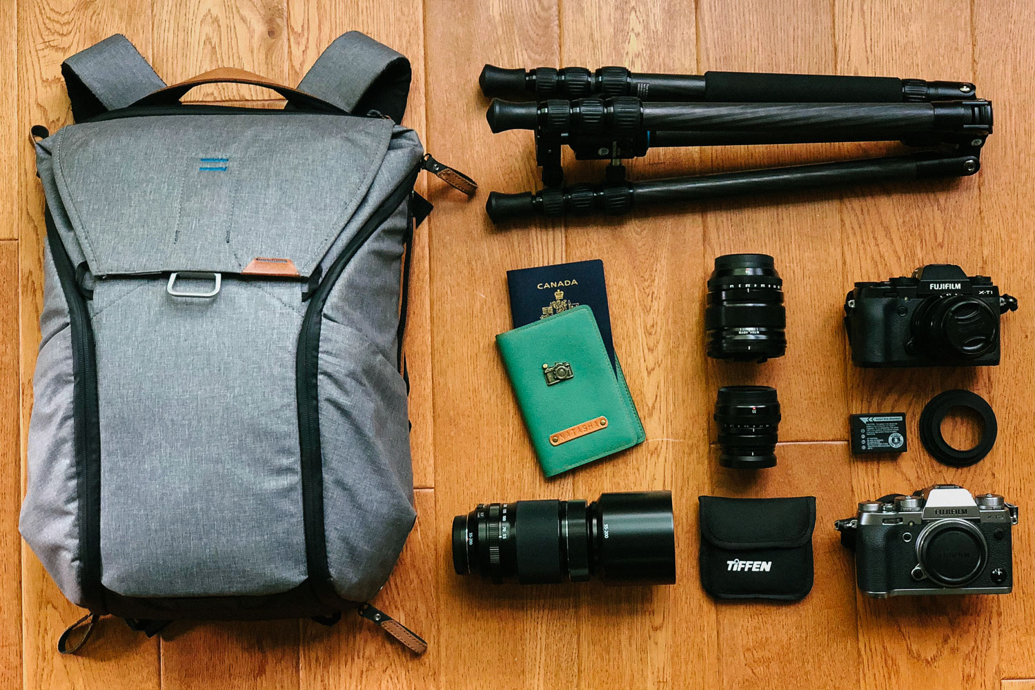 My travel photography camera gear. Including some of my favourite brands like Fujifilm and Peak Design. #fujifilm #fujifilmxt2 #streetphotography #travelphotography #peakdesign