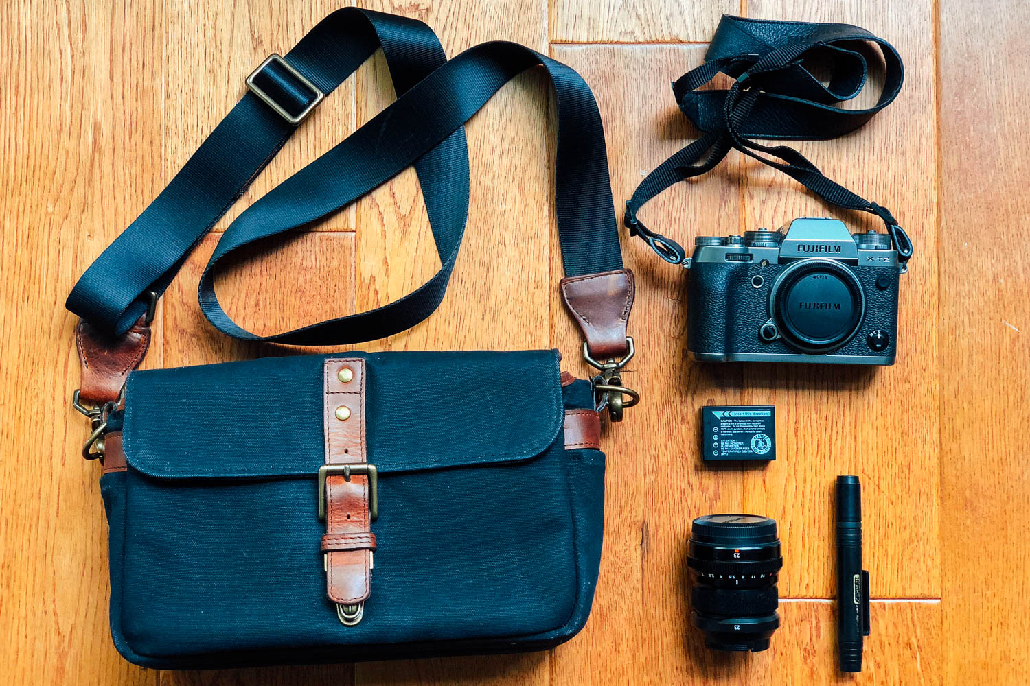 My favourite camera gear for street photography. The Fujifilm XT-2 with the Fujinon XF 23mm f/2 R WR Lens. All stored in the stylish Ona bag, to blend in with your regular street wear. #fujifilm #fujifilmxt2 #streetphotography #travelphotography