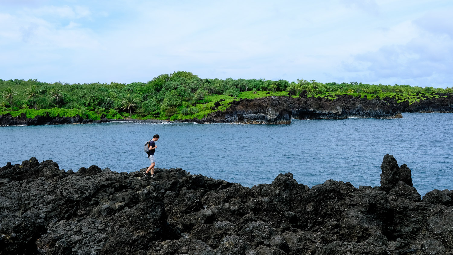 Walking on the lava rocks