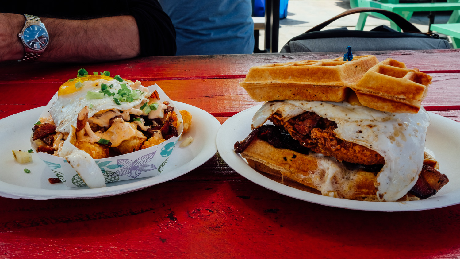 The tater tot special and chicken and waffles at Nom Kauai Food Truck.