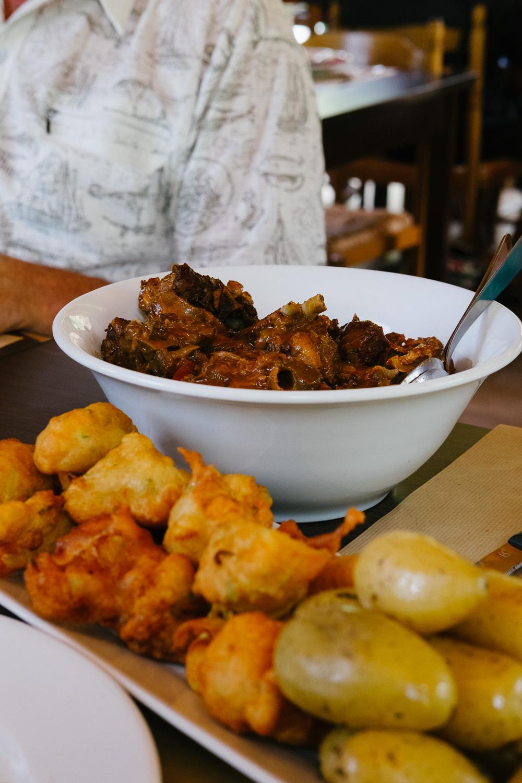 Lamb, beignets and potatoes at Auberge U Taravu in Zavaco