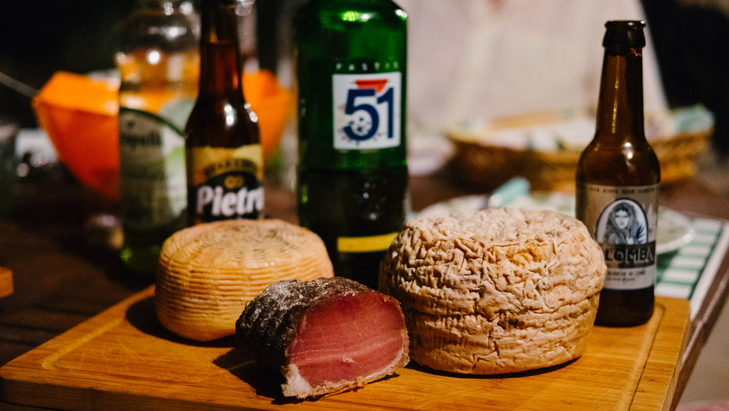 Cheese, meats and Corsican beer are part of a good Corsican meal