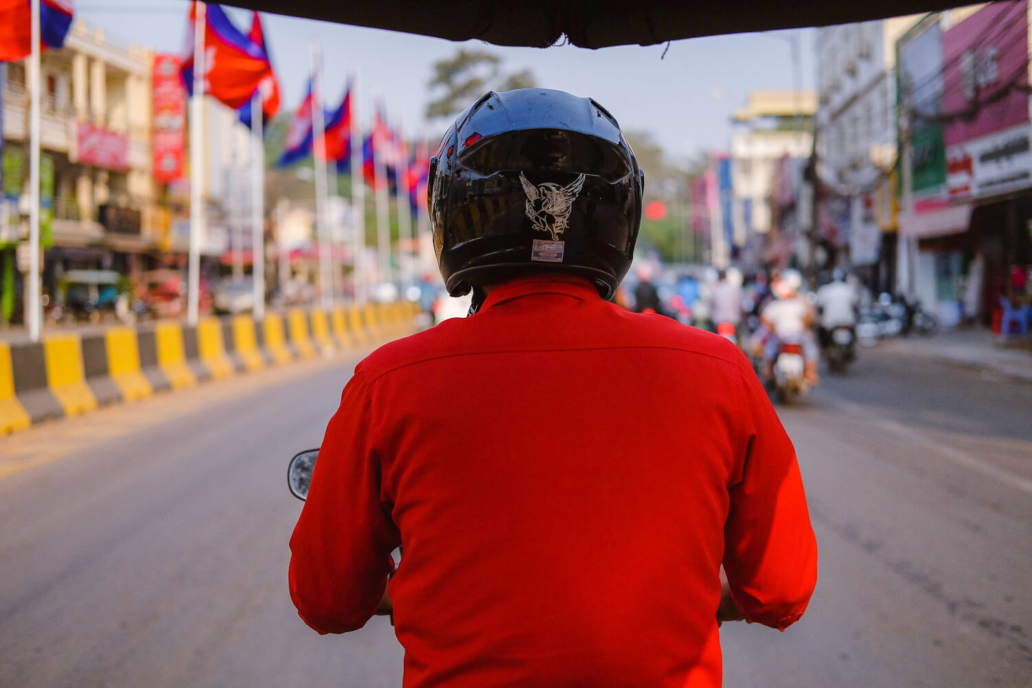 Our guide, Pee, driving through Siem Reap