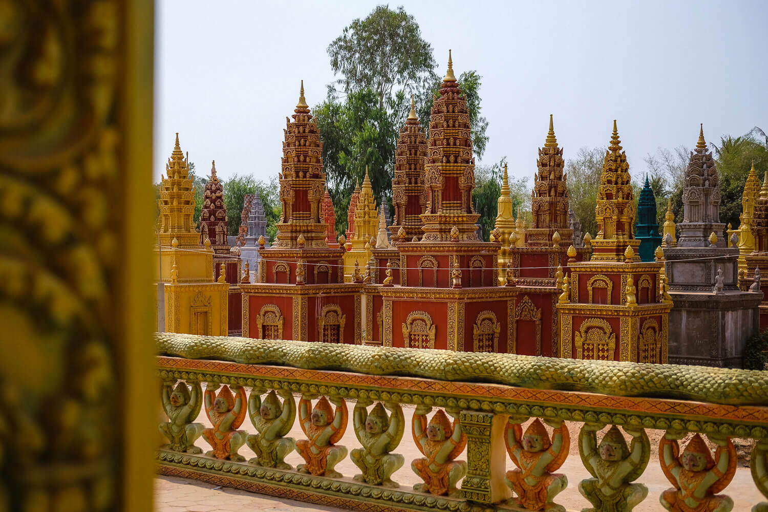 Colourful stupas where people's remains are buried