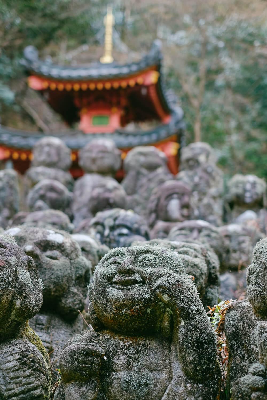 "Buddahs at  Otagi Nenbutsu-Ji  in Arashiyama (Kyoto). Travel photography and guide by © Natasha Lequepeys for ""And Then I Met Yoko"". #japan #japanitinerary #tokyo #osaka #travelblog #travelphotography #landscapephotography #travelitinerary #fujifilm #kyoto #nara #oaska #travelguide #asia #foodphotography #japantravel #japanfood #ryokan #cherryblossom #springtravel"