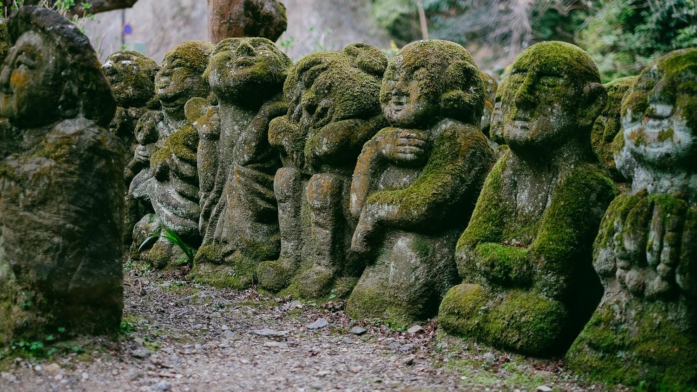 "Animated buddhas at Otagi Nenbutsu-Ji, Kyoto. Travel photography and guide by © Natasha Lequepeys for ""And Then I Met Yoko"". #japan #japanitinerary #travelblog #fujifilm #asia"