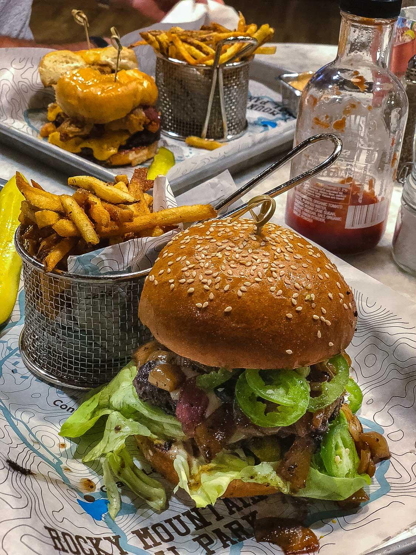 Build-you-own bison burger from Latitude 105, Estes Park.