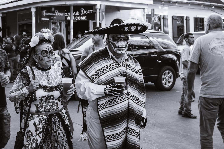 "Couple costume on Halloween. Travel photography and guide by © Natasha Lequepeys for ""And Then I Met Yoko"". #neworleans #nola #travelguide #photoblog #travelblog #travelphotography #travelitinerary #fujifilm #usa #visitnola #weekendgetaway #travel #neworleans3dayitinerary #streetphotography #bnw #halloween #costume #couplecostume #dayofthedead #blackandwhitephotography"