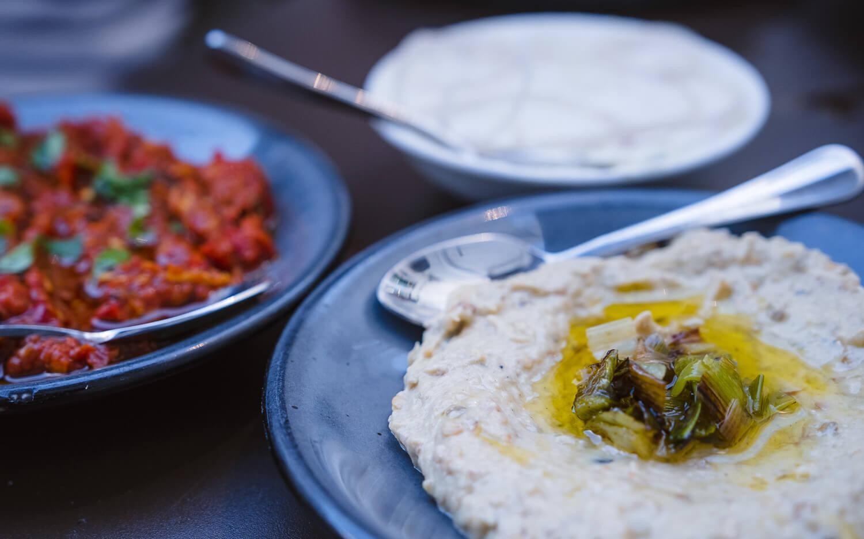 Salatim with Lutenitsa, Baba Ganoush and Lebneh