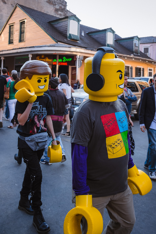"Lego men on Bourbon Street - Travel photography and guide by © Natasha Lequepeys for ""And Then I Met Yoko"". #neworleans #nola #photoblog #travelitinerary #fujifilm #halloween #streetphotography"