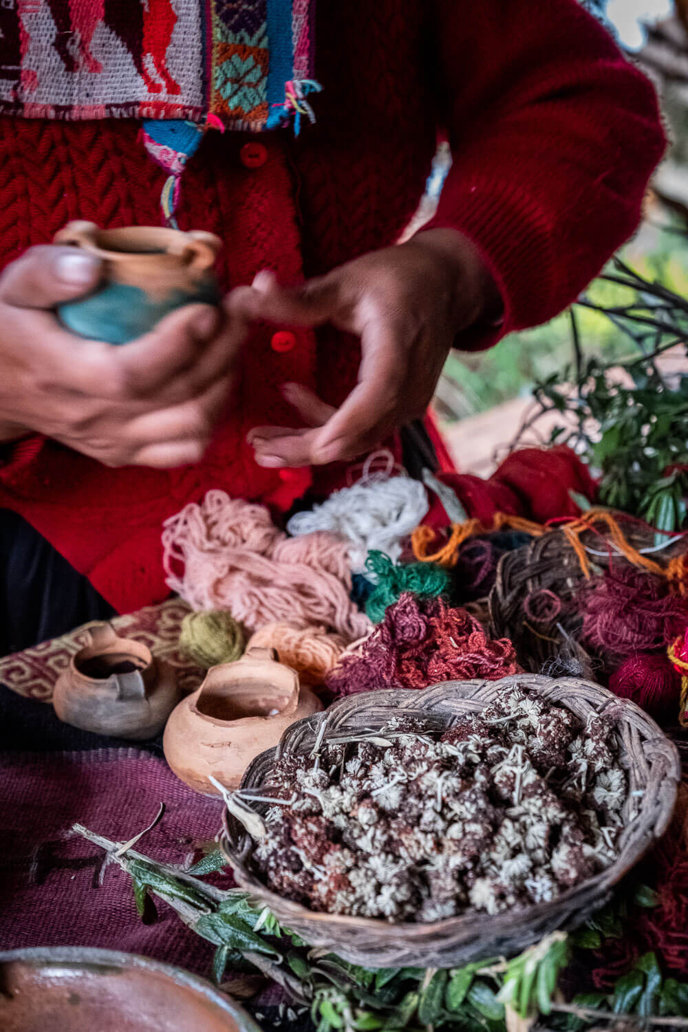 """Natural ingredients used to dye wool. The weavers of Patacancha, The Sacred Valley, Peru. Travel photography and guide by © Natasha Lequepeys for """"And Then I Met Yoko"""". #peru #sacredvalley #patacancha #photoblog #travelblog #travelphotography #portraitphotography #travelitinerary #fujifilm #weaving #tradition #culture #people #andes #village #weavingdemonstration #cusco #ollantaytambo #travel #travelperu"""