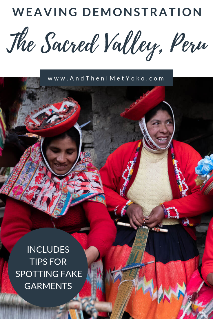 """Learn about the ancient weaving techniques that create beautiful Peruvian garments. Weavers of Patacancha, The Sacred Valley, Peru. Travel photography and guide by © Natasha Lequepeys for """"And Then I Met Yoko"""". #peru #sacredvalley #patacancha #photoblog #travelblog #travelphotography #portraitphotography #travelitinerary #fujifilm #weaving #tradition #culture #people #andes #village #weavingdemonstration #cusco #ollantaytambo #travel #travelperu"""