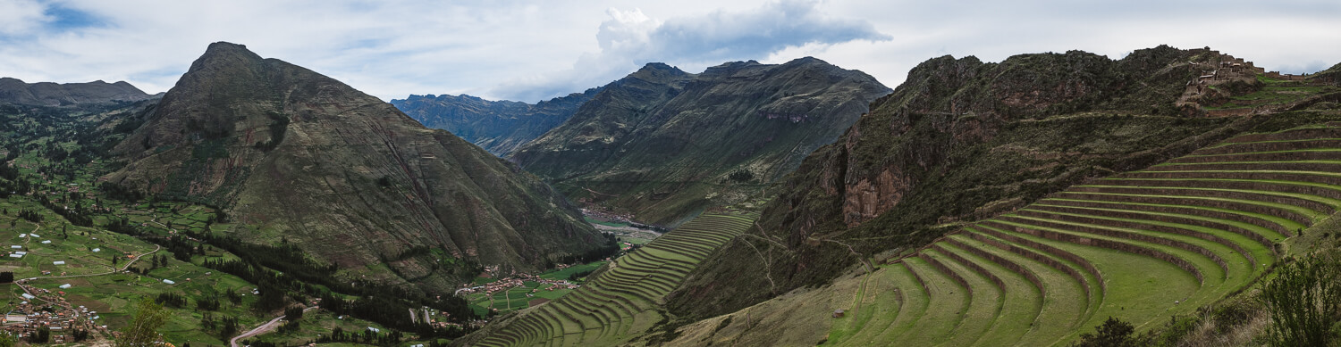"""A panoramic view of the city of Pisac and terraces, Cusco. Travel photography and guide by © Natasha Lequepeys for """"And Then I Met Yoko"""". #cusco #peru #travelguide #photoblog #travelblog #travelphotography #landscapephotography #travelitinerary #fujifilm #southamerica #peruitinerary #sacredvalley #incasights #machupicchu #cusco #ancientruins #incatrail #ValleSagrado #travel #cuscoitinerary"""