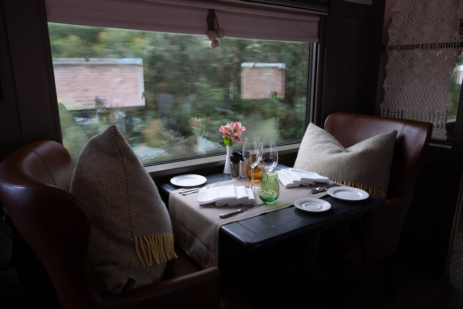 """Seats in the dining car, on the Belmond Andean Explorer. Travel photography and guide by © Natasha Lequepeys for """"And Then I Met Yoko"""". #peru #sacredvalley #cusco #laketiticaca #belmondandeanexplorer #perurail #perutrain #luxurytravel #sleepertrain #photoblog #travelblog #travelphotography #fujifilm #andes #travel #travelperu #cuscotolaketiticaca #spiritofthelake #belmond #puno #southamerica"""