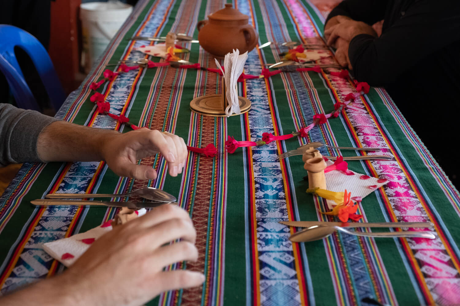 """Table is set for lunch, Amantani Island. Travel photography and guide by © Natasha Lequepeys for """"And Then I Met Yoko"""". #peru #laketiticaca #homestay #photoblog #travelblog #fujifilm"""