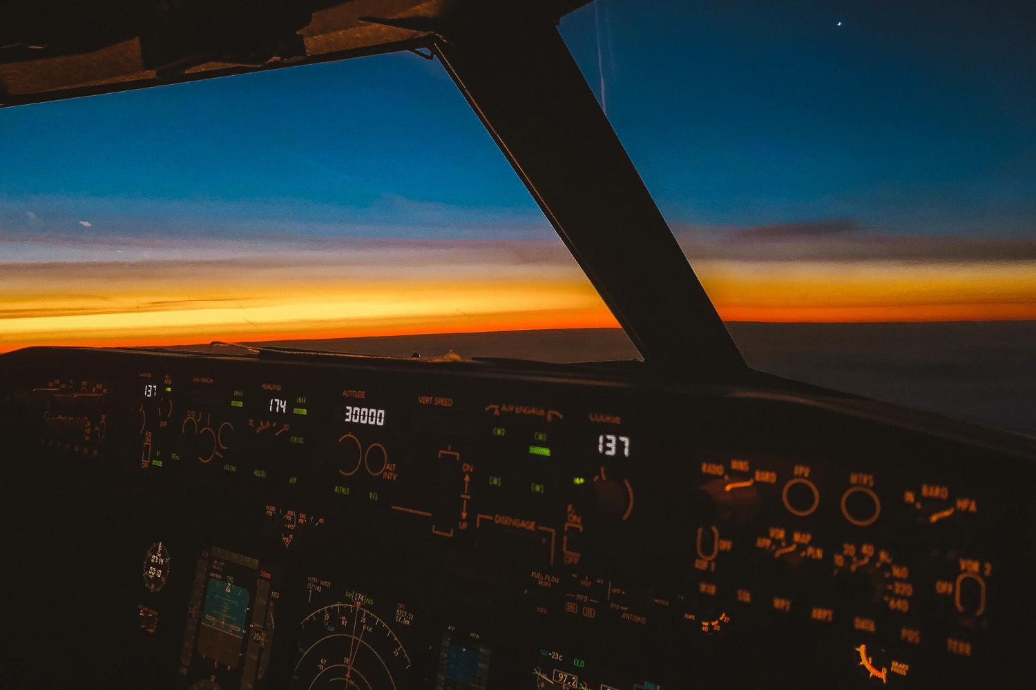 inside the cockpit during sunset