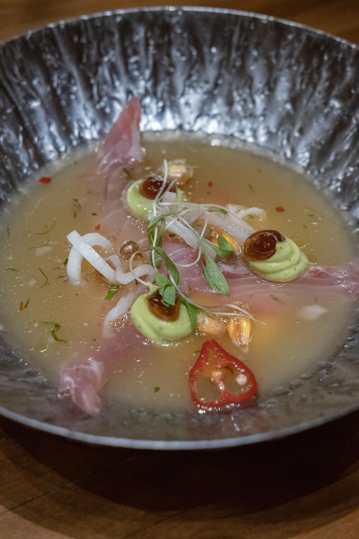 Maido: Poda Cebiche - Sarandaja cream, mackerel, shallots, aji limo, chulpi corn, nikkei leche de tigre