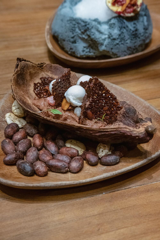 Maido: Theobroma Cacao - Granadila with mandarin sorbet, lucuma ice cream