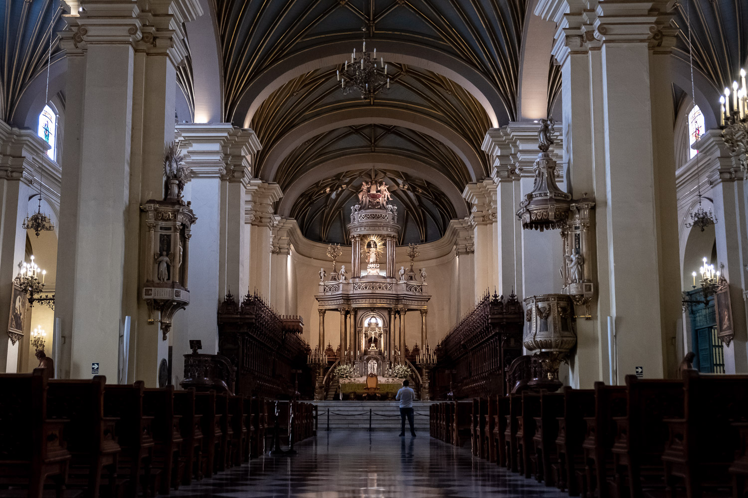 """Inside the Basilica Cathedral of Lima, Peru. Travel photography and guide by © Natasha Lequepeys for """"And Then I Met Yoko"""". #photoblog #travelblog #travelperu"""