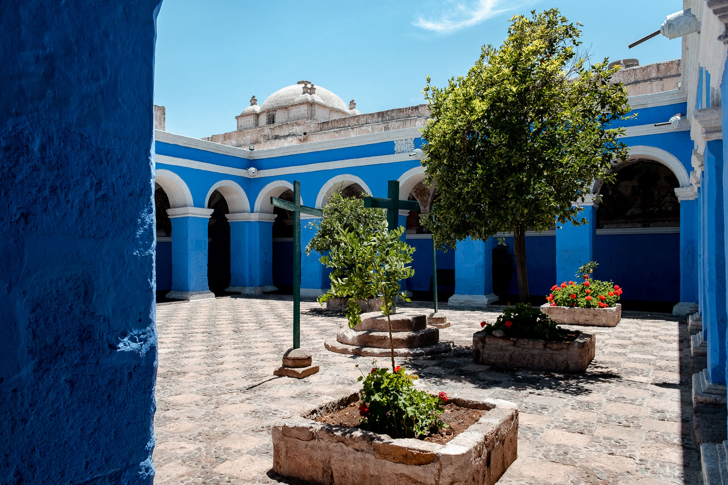 """A blue courtyard in the Santa Catalina Monastery, Arequipa. Travel photography and guide by © Natasha Lequepeys for """"And Then I Met Yoko"""". #peru #photoblog #fujifilm"""