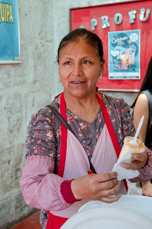 "Woman selling queso helado, Arequipa, Peru. Travel photography and guide by © Natasha Lequepeys for ""And Then I Met Yoko"". #peru #photoblog #fujifilm"