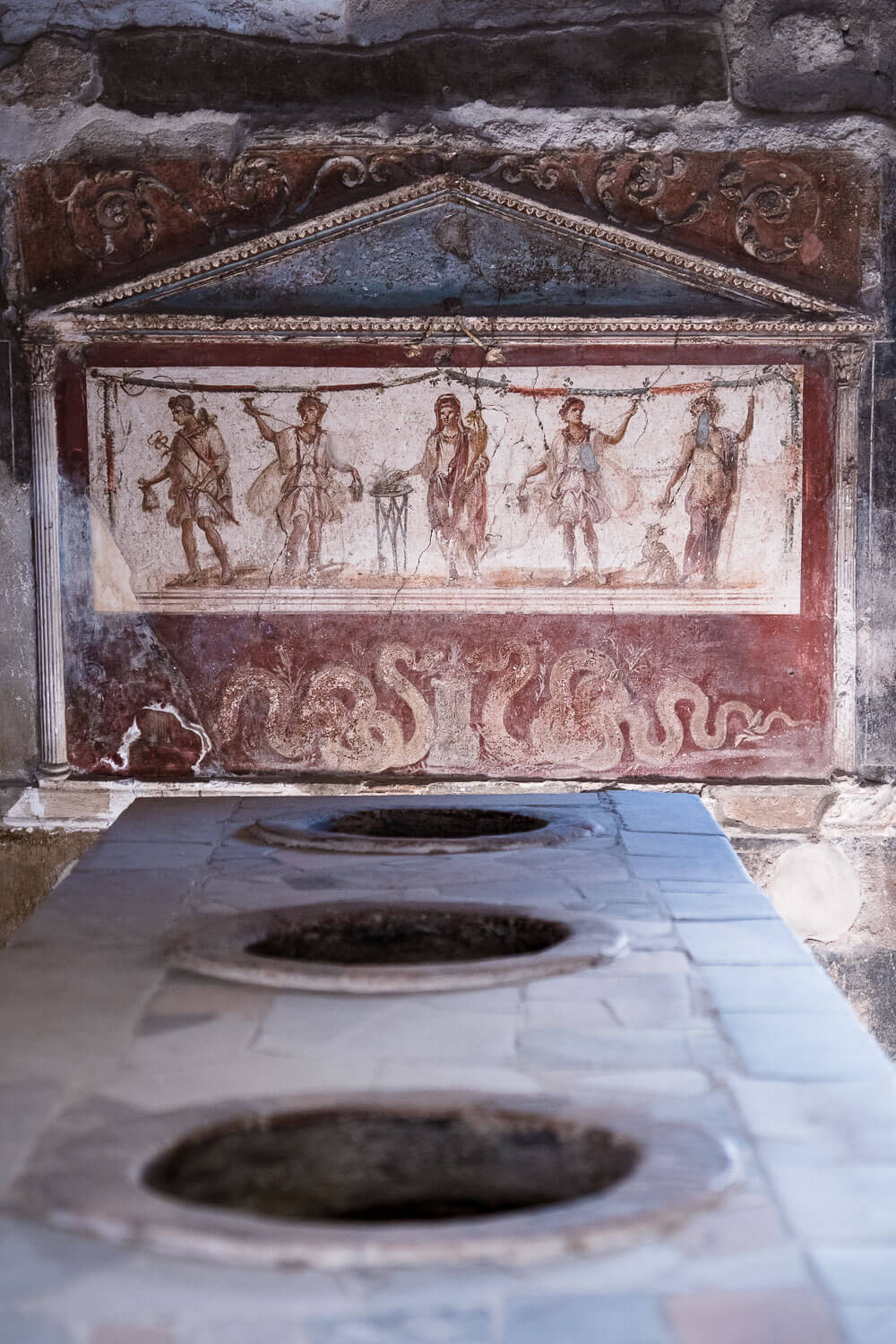 """Pompeii restaurant marble counter. Travel photography and guide by © Natasha Lequepeys for """"And Then I Met Yoko"""". #pompeii #italy #fujifilm #travelphotography"""