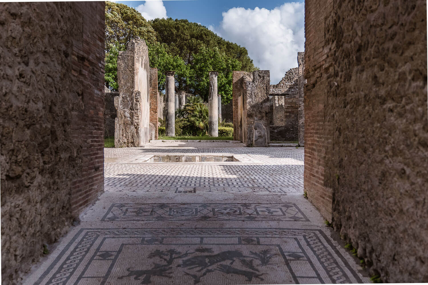 """Mosaic atrium of an aristocratic house in Pompeii, Italy.. Travel photography and guide by © Natasha Lequepeys for """"And Then I Met Yoko"""". #pompeii #italy #fujifilm #travelphotography"""