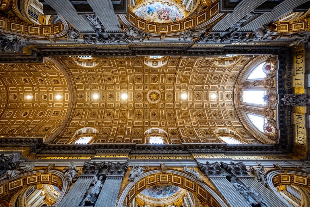 "The ceiling of St. Peter's Basilica, The Vatican. Travel photography and guide by © Natasha Lequepeys for ""And Then I Met Yoko"""