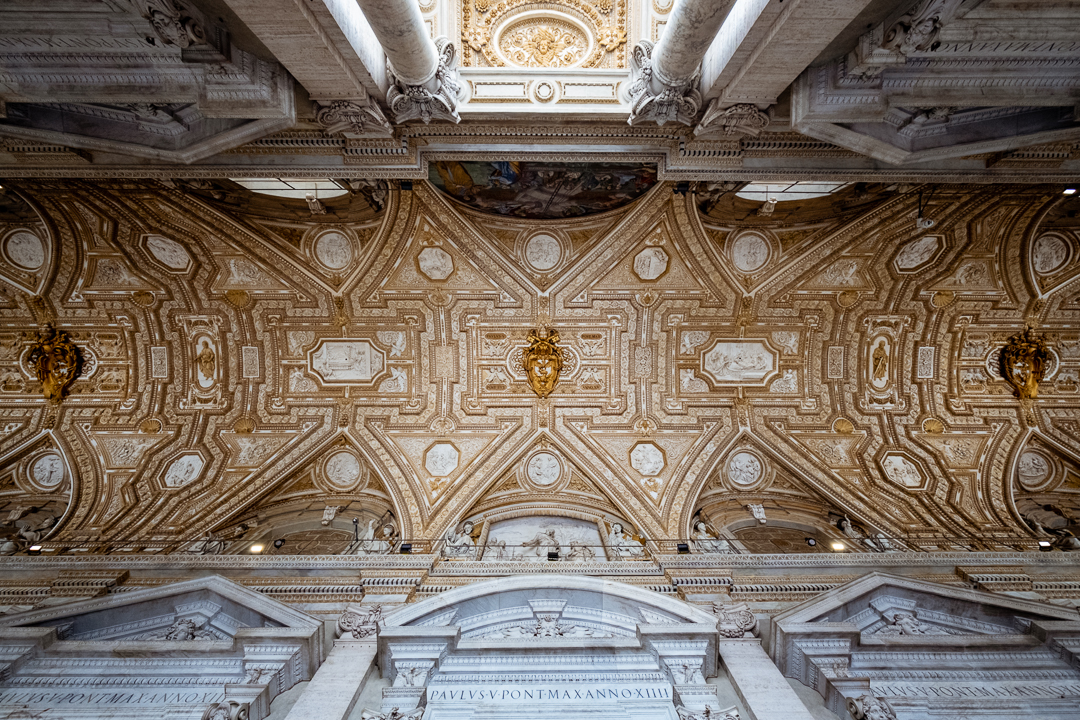 "The entrance ceiling to St. Peter's Basilica, The Vatican. Travel photography and guide by © Natasha Lequepeys for ""And Then I Met Yoko"""