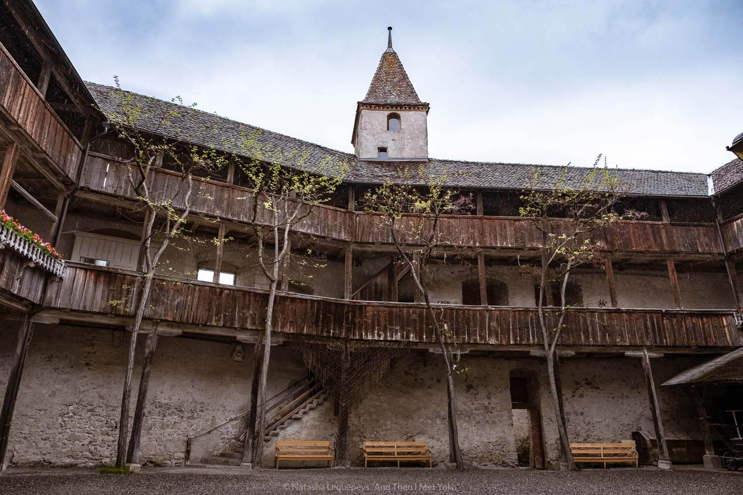 "The courtyard in the Château de Gruyères, Switzerland. Travel photography and guide by © Natasha Lequepeys for ""And Then I Met Yoko"". #gruyere #switzerland #travelguide #travelphotography"