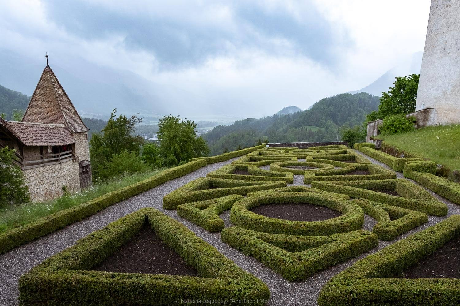 "French gardens at the Château de Gruyères, Switzerland. Travel photography and guide by © Natasha Lequepeys for ""And Then I Met Yoko"". #gruyere #switzerland #travelguide #travelphotography"